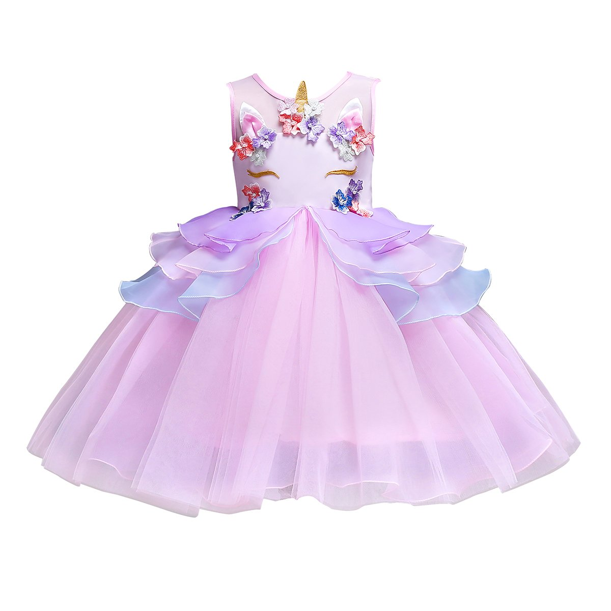 FEESHOW Girls Appliques Rainbow Tutu Dress Princess Cosplay Costumes Party Outfit Birthday Tutu Dress up Clothes Pink #2 5-6