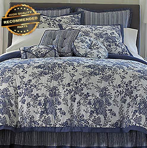 Gatton Premium New Toile Garden Queen Blue Floral White Comforter Shams Set | Style Collection Comforter-311012516