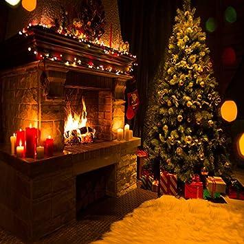 Más 5 x 7ft vinilo árbol de Navidad chimenea calcetines de regalo vela fotografía Studio Telón de fondo fondo: Amazon.es: Electrónica