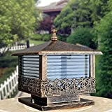 Modeen European Outdoor Glass Table Lamp Column Lamp Tradition Antique Victoria Waterproof Aluminum Garden Lawn Lights Street Post Light E27 Decoration Illumination (Color : Bronze)