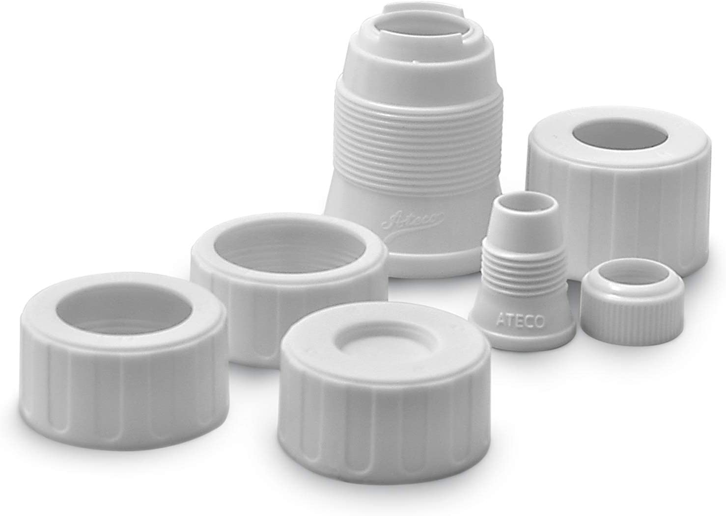 Ateco Universal Pastry Coupler and Cap Set | 7 Piece Set | Works with 250 Ateco decorating Tubes plus tips from other brands