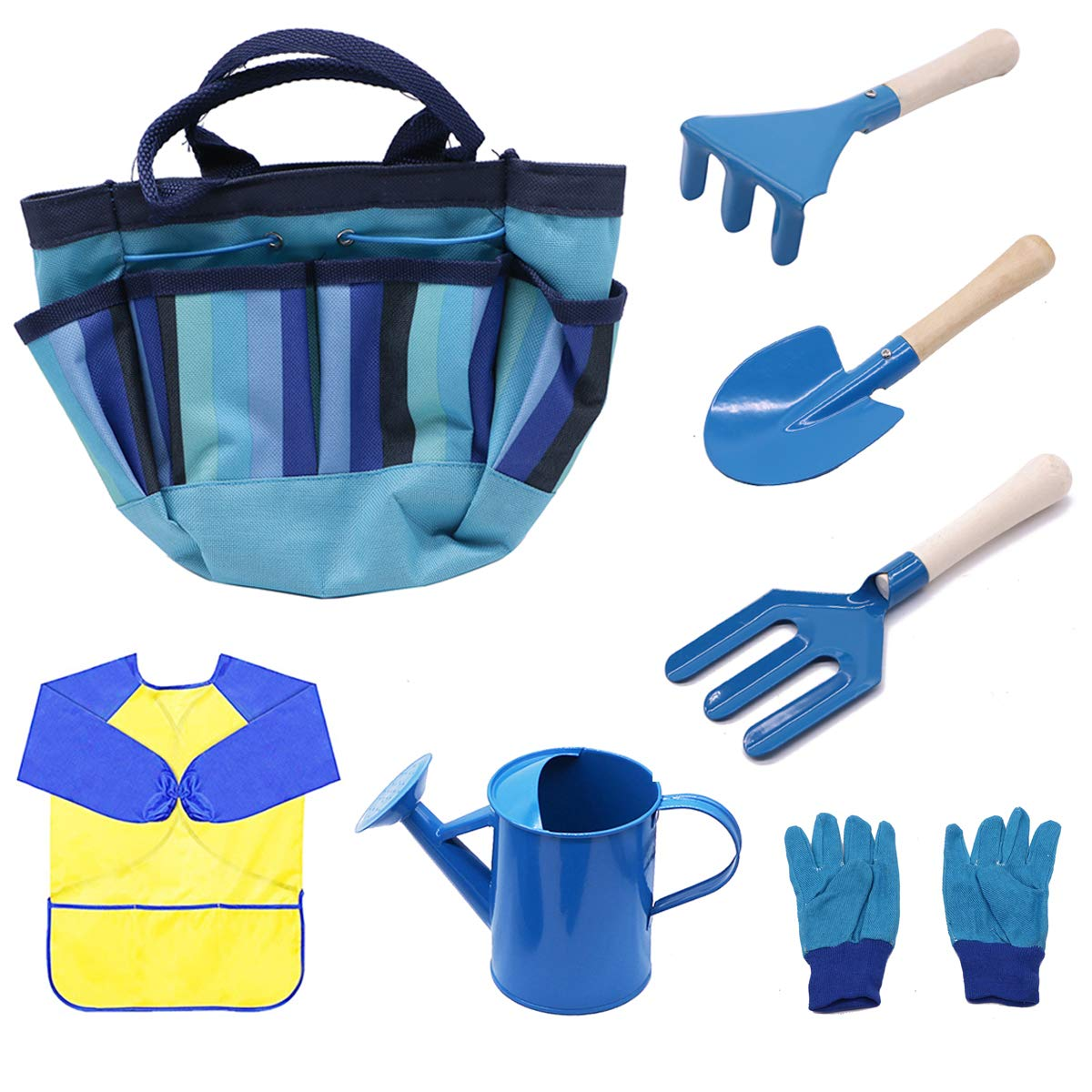 MoTrent Children Gardening Tools Set, 7 PCS Kids Garden Tool Toys Including Watering Can, Gardening Gloves, Shovel, Rake, Trowel, Garden Toe Bag and Kids Smock