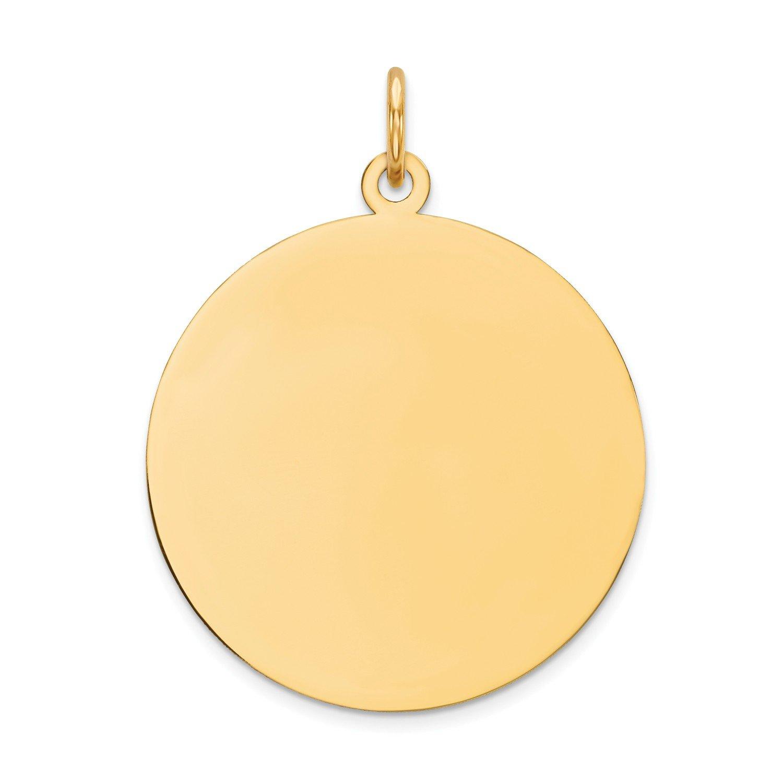 Roy Rose Jewelry 14K Yellow Gold Round Disc Charm 21mm Diameter 21mm Diameter