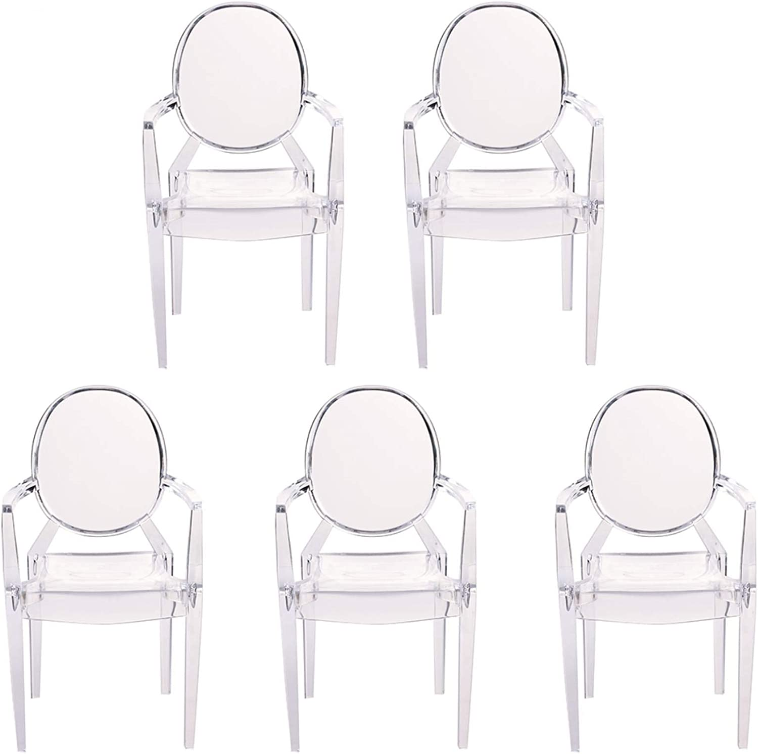 Tmtop 5PCS Miniature Armchair Plastic Chair Model Furniture for 1/6 Doll House Accessories White