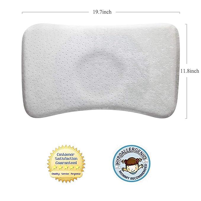 Almohada Bebe-Almohada Plagiocefalia Bebe Desenfundable para Prevenir/Curar la Cabeza Plana in Memory Foam