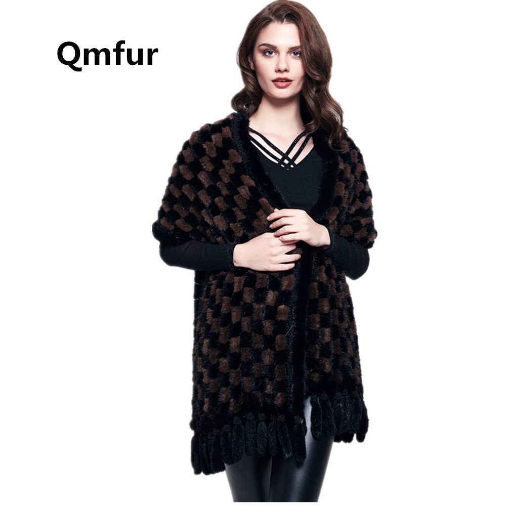 Qmfur Knitted Scarves Real Mink Fur Scarf Womens' Shawl Wraps