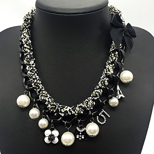 MISASHA Imitation Pearl and Black Bowknot Celebrity Bridal Necklace