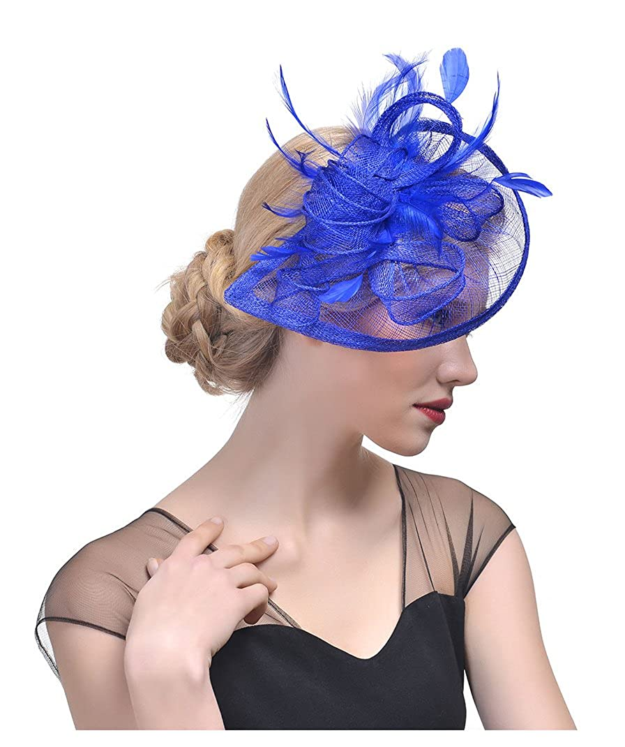 Royal Obosoyo Sinamay Fascinator Hat Feather Mesh Net Veil Cocktail Party Hat Flower Derby Hat for Women