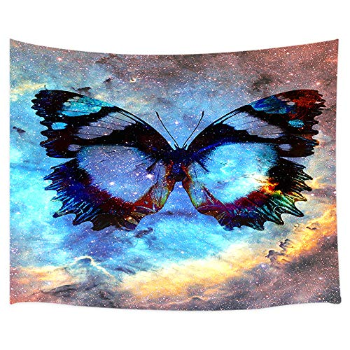 (DYNH Fantasy Cosmic Space Butterfly Tapestry Wall Hanging, Mystic Insect at Galaxy Sky Wallpaper, Wall Blanket Beach Towels Home Decor Polyester Fabric for Bedroom Living Room Dorm, 71X60 Inches)