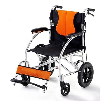 ZZHF Silla de ruedas silla plegable plegable de acero ancianos discapacitados scooters silla de ruedas pequeña