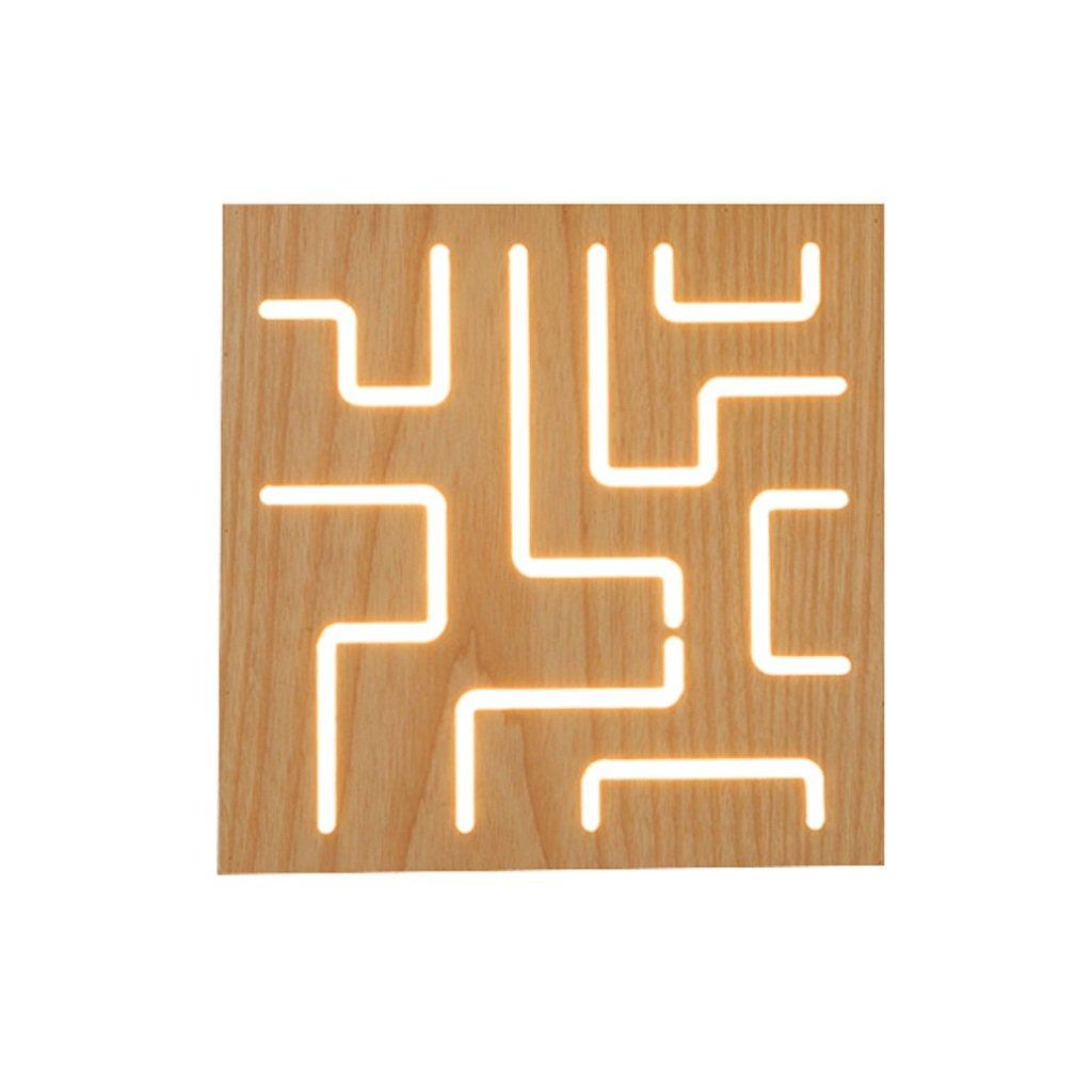 B GCX-Wandleuchte Nordic minimalistischen kreative Holz Wandleuchte Moderne Wohnzimmer Schlafzimmer Nachttischlampe Dekorative Korridor Leuchten (Farbe   B)