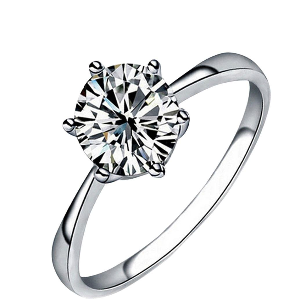 OldSch001 Rings for Women, Fashion Simple 6 Prong Setting Zircon Rings Size 6-9 OldSch001-Rings