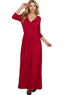 4f3ed10a9f41 Annabelle Women's V Neck Solid Knit Elastic Tie Waist Wrap Maxi Dress with  Pockets S-