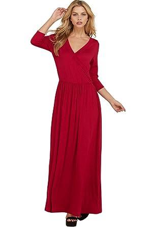 decc0dea099c Annabelle Women's Wrap Shirring Full Length Dress New Red Medium D5544