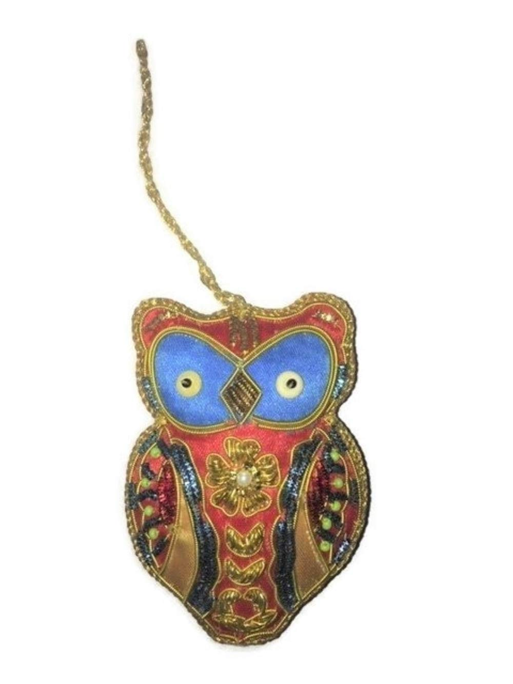 S&C Boho Zari Bohemian Silk Owl Ornament with Beads, Red Blue and Gold Decor (Red)