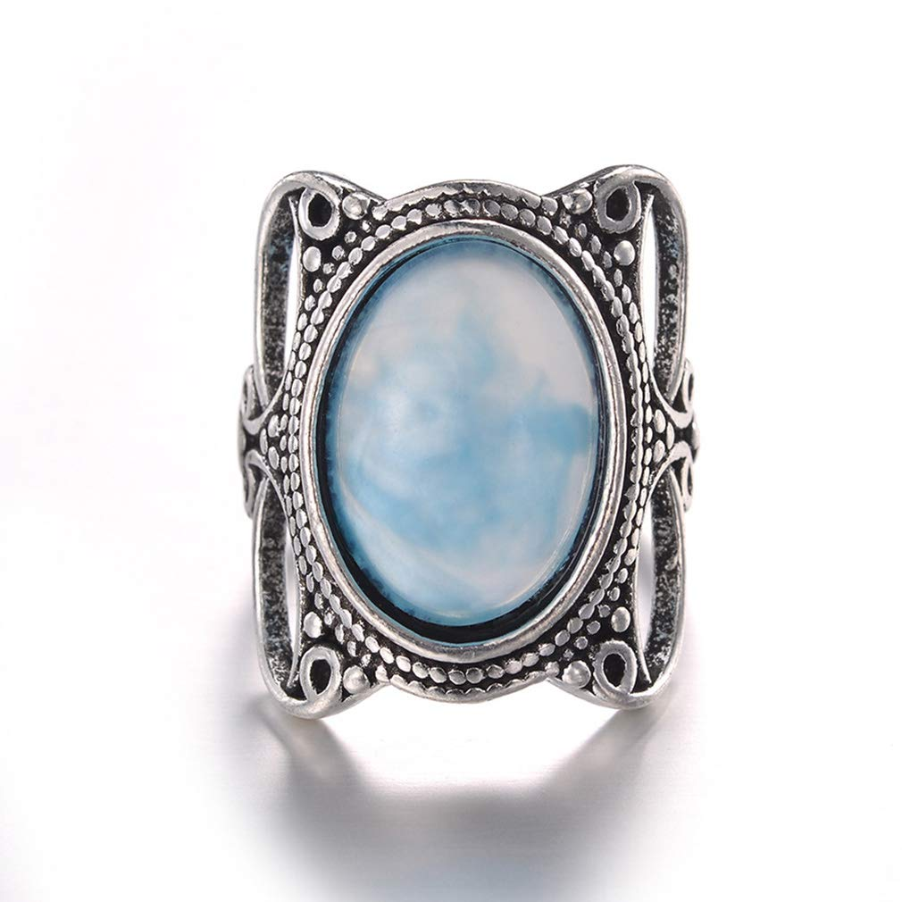 Dolland Vintage Bohemia Oval Turquoise Ring Oval Cut Temperament Gemstone Ring Exquisite Women Jewelry,Picture Color 7