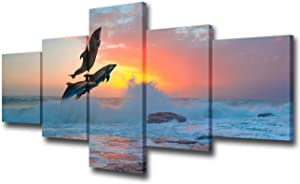 TUMOVO 5 Piece Canvas Wall Art - Group of Dolphins Jumping on The Sea Wave at Sunset Near Red Sea Reef - Modern Home Decor Stretched and Framed Ready to Hang - 50