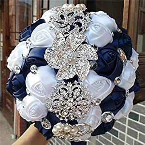 Hand Made Silk Rose Wedding Bouquet,Rhinestone Brooch Wedding Bouquets Customization Pearls Bride Holding Flowers (Navy Blue+White) 91