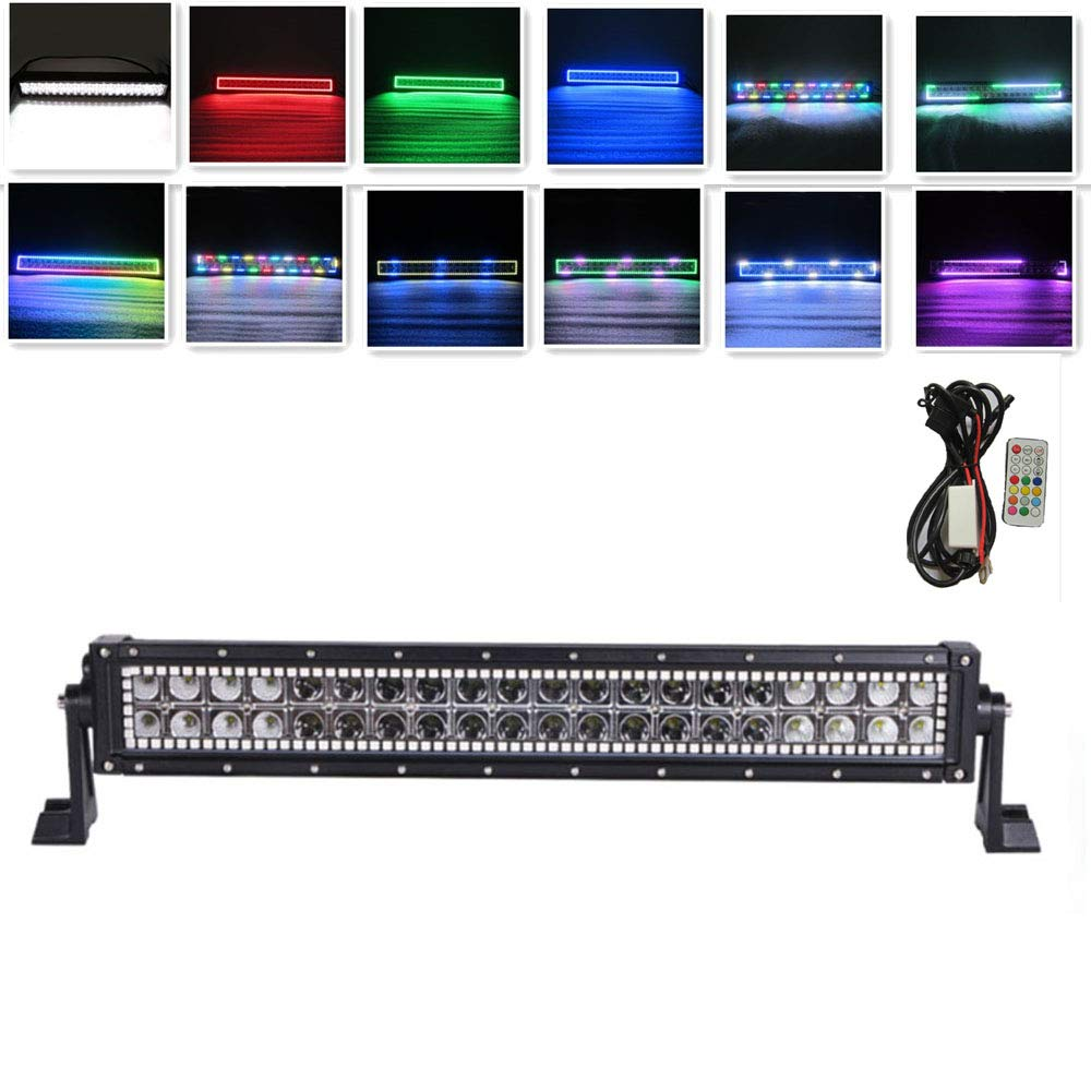 IOV LIGHT 22Inch Straight 120W Cree Led Light Bar 12V RGB Chasing Halo Ring Many Colors Changing and about 300 Flashing Modes Strobe Led Light Bar Combo Beam for Off road 4x4 SUV ATV Free Wire Harness