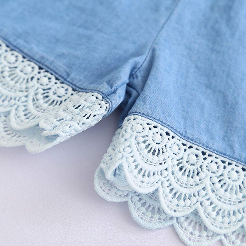 Little Girls Denim Sets Baby Kids Girls Sleeveless Lace Tops Shorts Summer Casual Outfits for 2-7 Y TM Jchen