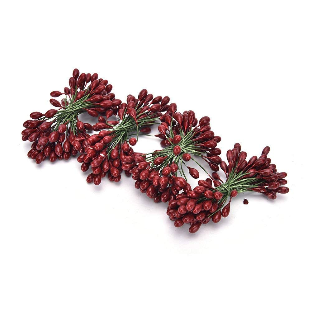 50//100pcs Red Berries Artificial Fruits Christmas Craft Holly Berry Pick Decor