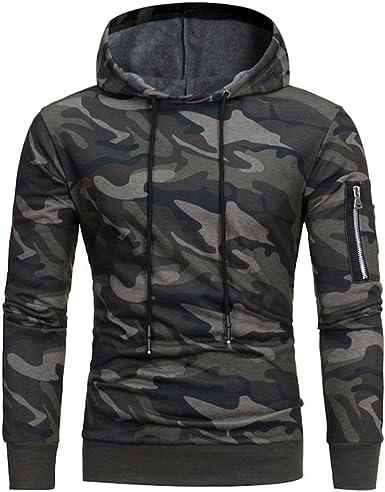 Rrive Mens Camouflage Print Long Sleeve Zipper Hooded Sweatshirt Jacket