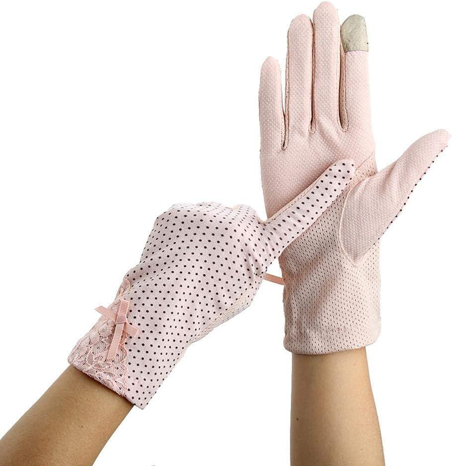 Destinely Gants /Écrans Tactiles Gants Courts Tactiles de Femmes en Dentelle et Coton en /Ét/é Gants de Conduite Anti-Soleil Protection UV