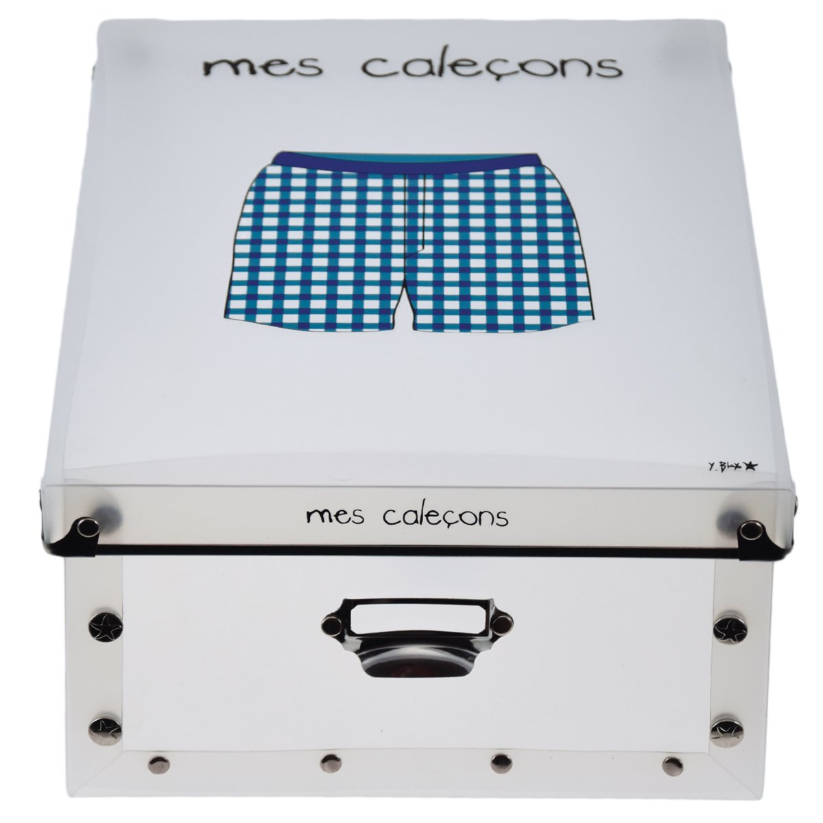 34,5 x 26 x 14 cm Compartiments Mes cale/çons - Incidence Paris 42330 Boite PP T3 Plastique Bleu