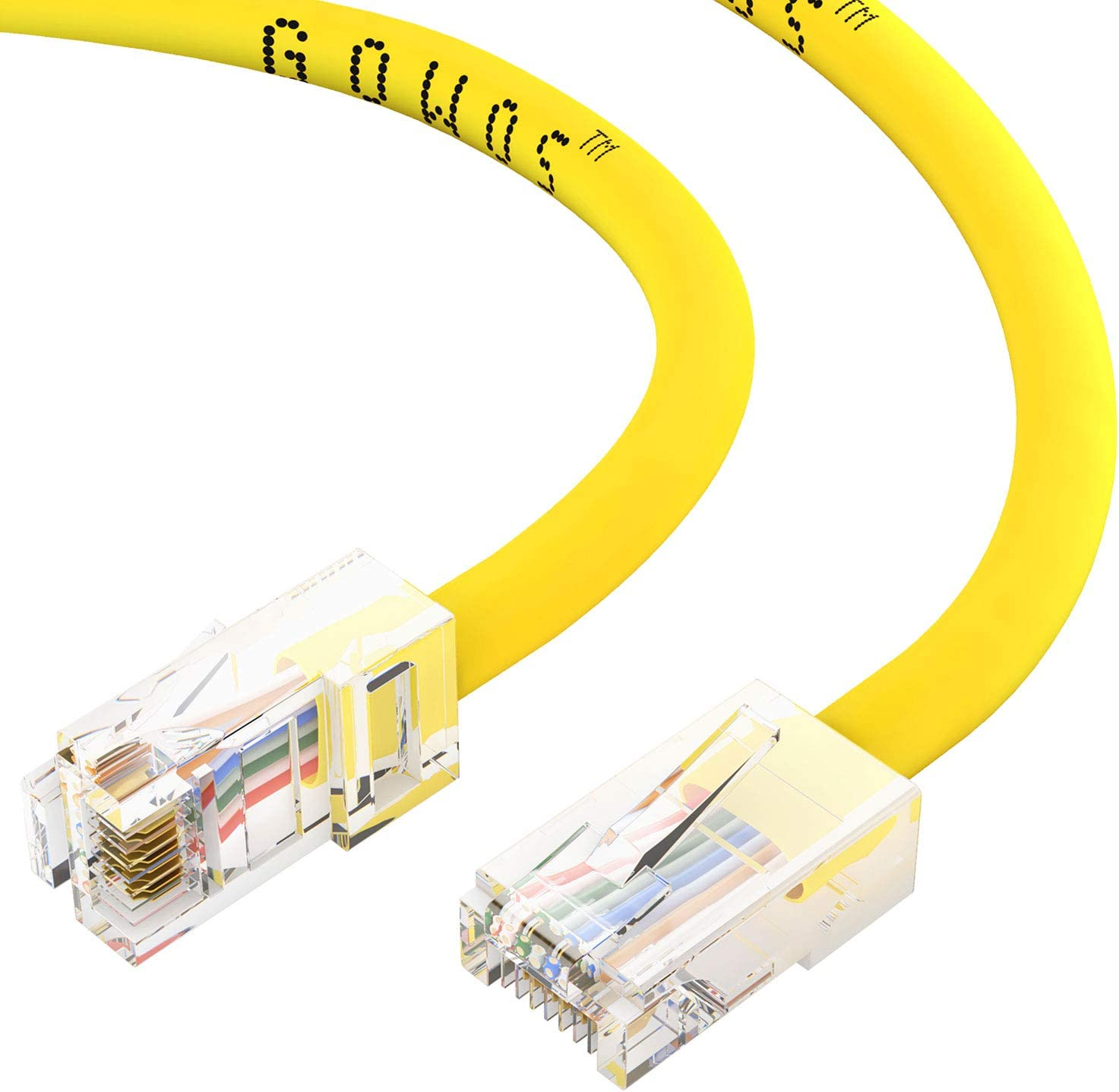 CABLECHOICE 5-Pack Available 28 Lengths and 10 Colors Cat5e Ethernet Cable UTP Computer Network Cable with Bootless Connector RJ45 10Gbps High Speed LAN Internet Patch Cord 14 Feet - Yellow