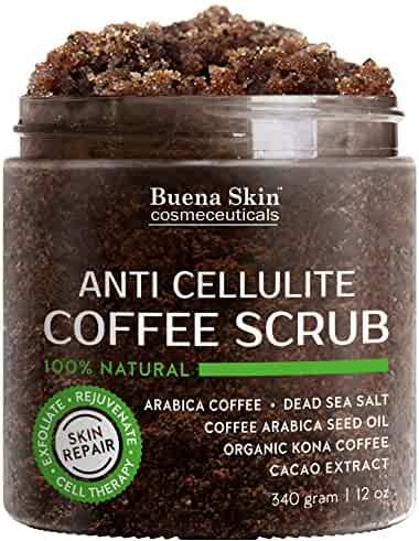 Anti Cellulite Coffee Scrub 100% Natural With Organic Coffee, Coconut and Shea Butter, Powerful Remedy For Stretch Marks, Varicose Veins, Eczema and Acne 12 oz
