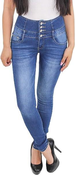 Damen Röhren Skinny Stretch Hochbund Jeans Hose Corsage Hochschnitt Übergröße