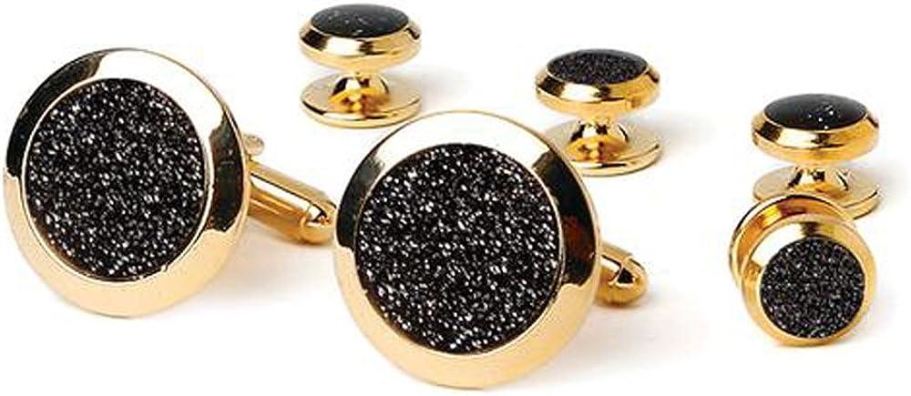 Black Diamond Dust Tuxedo Cufflinks and Studs