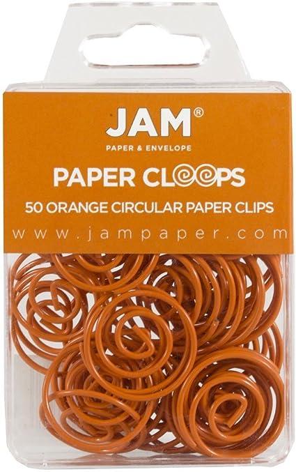 50//Confezione Fermacarte Rotonde Arancione JAM PAPER Graffette Circolari