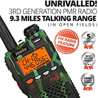 Heider Pro5 3RD Generation PMR Radio 9.3 MILES TALKING RANGE - Camouflage - with compact LONG Antenna 7 inch