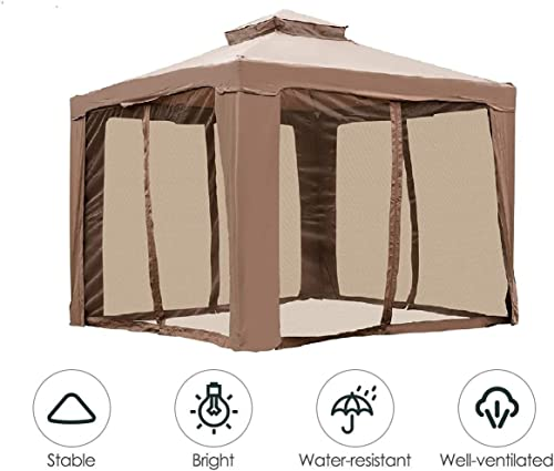 INWAVE Pop up Gazebo 10x10ft Backyard Gazebo Brown Outdoor Canopy Gazebo with Nettingfor Backyard, Outdoor, Patio and Lawn