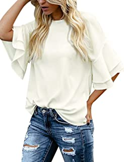 61777e0005 luvamia Women's Casual 3/4 Tiered Bell Sleeve Crewneck Loose Tops Blouses  Shirt