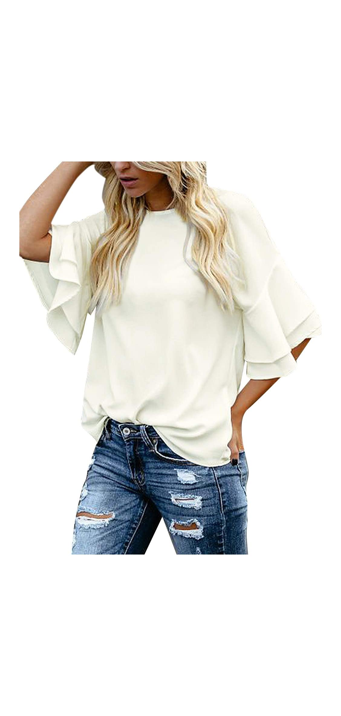 Women's Casual / Tiered Bell Sleeve Crewneck Loose