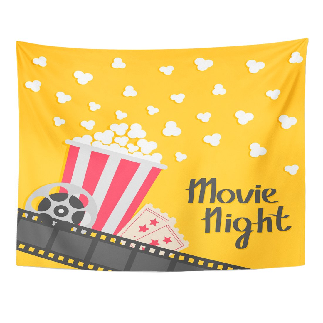 TOMPOP Tapestry Popcorn Popping Big Movie Reel Ticket Admit One Three Star Cinema in Flat Film Strip Border Red Yellow Home Decor Wall Hanging for Living Room Bedroom Dorm 60x80 Inches