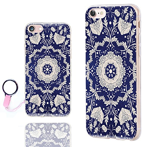 iPhone 8 Case Mandala,iPhone 7 Case Floral,ChiChiC [Chic Series] Anti-Scratch Slim Flexible Soft TPU Rubber Cases Cover for Apple iPhone 7 8 4.7 Inch,Silvery Henna Mandala Datura Floral flower on blue
