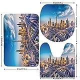 3 Piece Bathroom Mat Set,City,Panoramic-View-of-Dubai-Arabian-Cityscape-High-Rise-Buildings-Traffic-Roads,Blue-Ivory-Marigold.jpg,Bath Mat,Bathroom Carpet Rug,Non-Slip