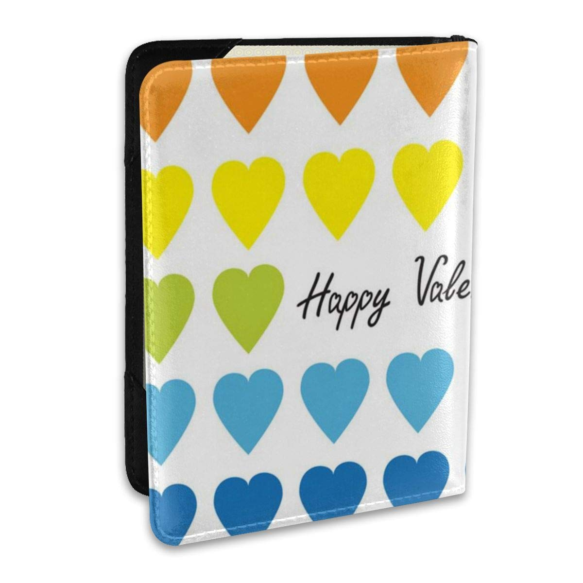 Biahos Leather Passport Cover Happy Valentines Day Rainbow Wallet For Passport Case