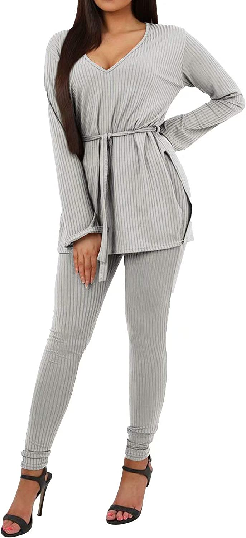 Womens Sexy 2 Piece Outfits - Elegant Split Long Sleeve Belted Slit Sweatshirts Tops Bodycon Pants Set Clubwear Tracksuit