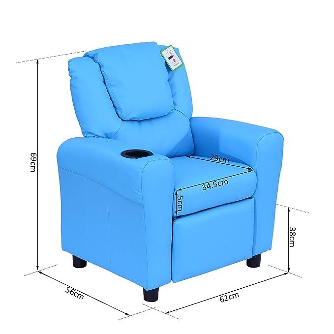 Homcom – Sillón reclinable y tumbona para niños, silla para ...