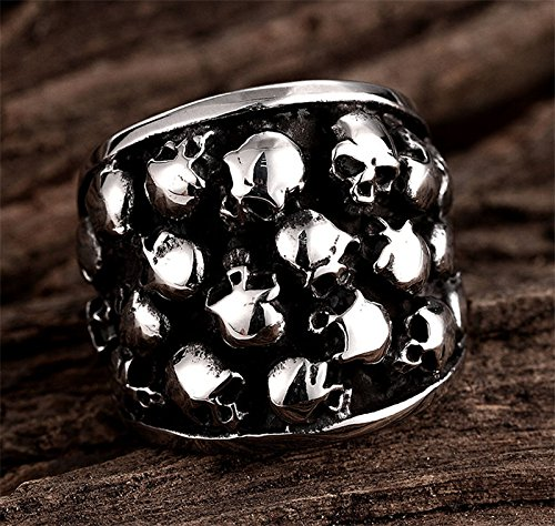 GemMart Jewelry 26mm Heavy Gothic Punk Black Silver Tone Horror Skulls 316L Stainless Steel Mens Ring Stainless Steel Biker Ring