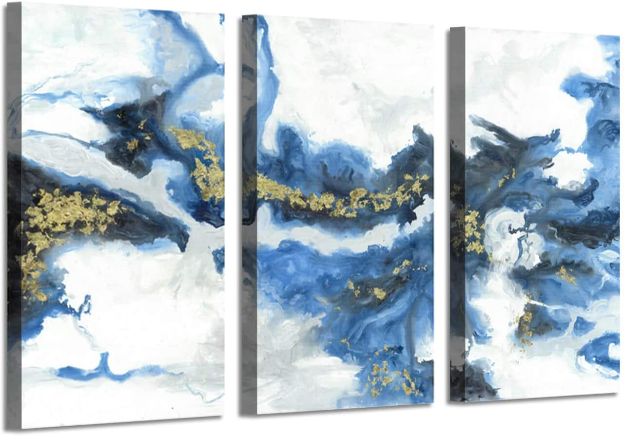 Ocean abstract Art Picture Painting: Crashing Waves Gold Foil Artwork on Canvas Decor Set
