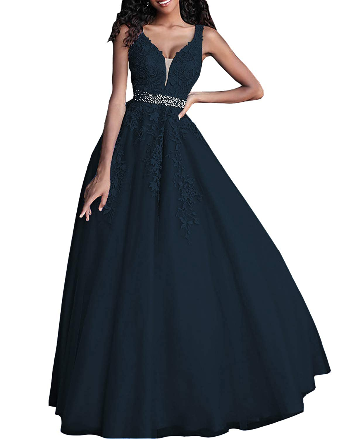 Navy bluee CCBubble Long Lace Appliques Prom Dresses Double V Neck Evening Formal Wedding Party Gowns