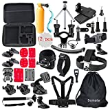 4K Action Camera Accessories Kit for Gopro Hero 5/4 Session Hero 3/2/1 Silver Black;Bundles for AKaso Ek7000; EKEN H9r Campark Wifi Underwater Cam; DBPower EX5000; SJCAM SJ4000 SJ5000 SJ6000