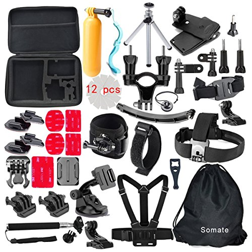 4K-Action-Camera-Accessories-Kit-for-Gopro-Hero-54-Session-Hero-321-Silver-BlackBundles-for-AKaso-Ek7000-EKEN-H9r-Campark-Wifi-Underwater-Cam-DBPower-EX5000-SJCAM-SJ4000-SJ5000-SJ6000
