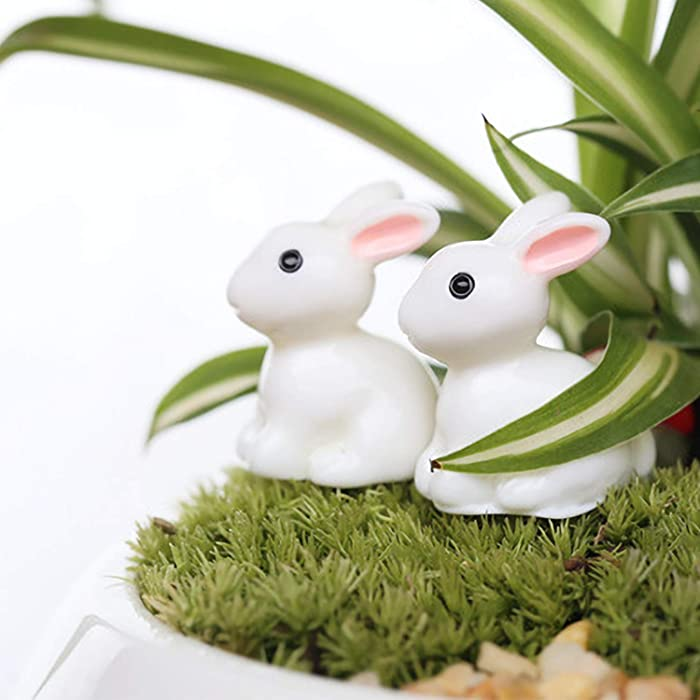 Miniature Garden Ornaments Kit,50 Pack Mini Animals Rabbits Fairy Garden Accessories for Moss Landscape DIY Terrarium Crafts