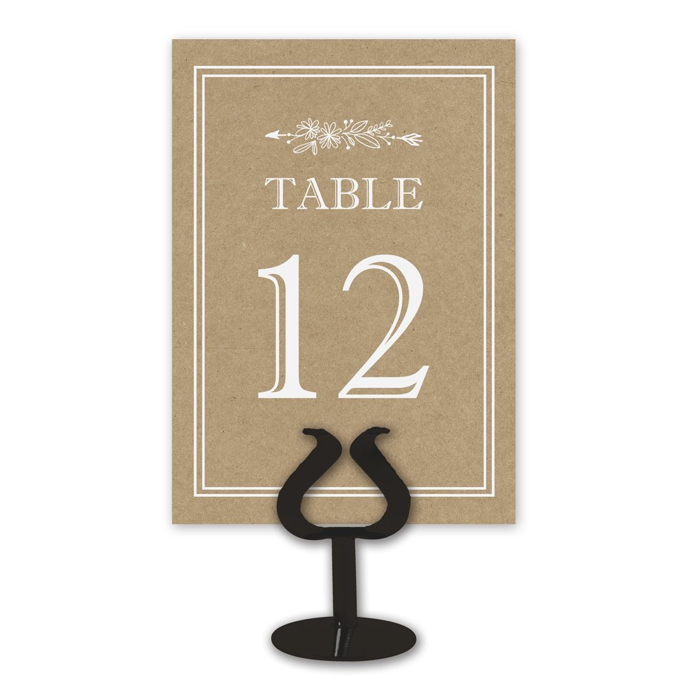 Printed Party Kraft Table Card Numbers for Wedding Reception - Double Sided - 1-25 by Printed Party